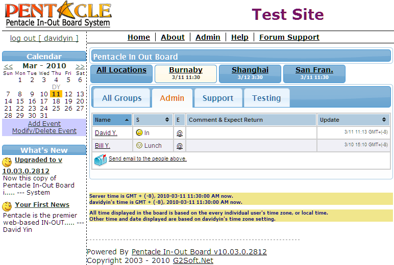 Click to view Pentacle In-Out Board 10.03.0.2812 screenshot